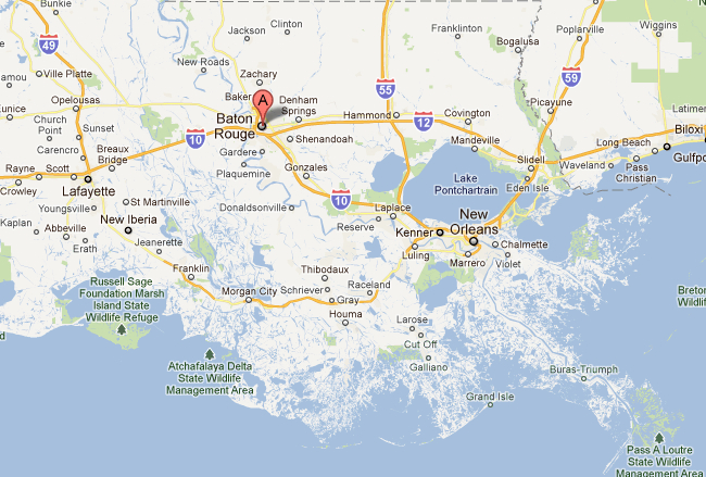 "Charis of ""Cook Your Way Through The S.A.T."" map of Baton Rouge, Louisiana for post on review of book in the Baton Rouge Advocate newspaper"