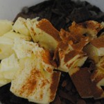 Charis of S. A. T. gourmet photo of butter and bittersweet chocolate chunks for chocolate babka recipe