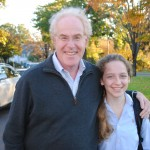 Photo of Charis and her Dad at Parent's Weekend for blog post on SATgourmet about baked pumpkin seeds
