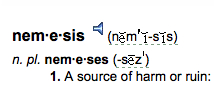 "Charis of S A T gourmet photo of definition of word ""nemesis"" for chocolate babka recipe blog post"