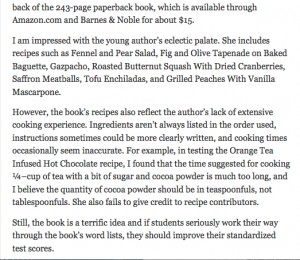 "Second part of Baton Rouge Advocate review of ""Cook YOur Way Through THe S.a.T."""