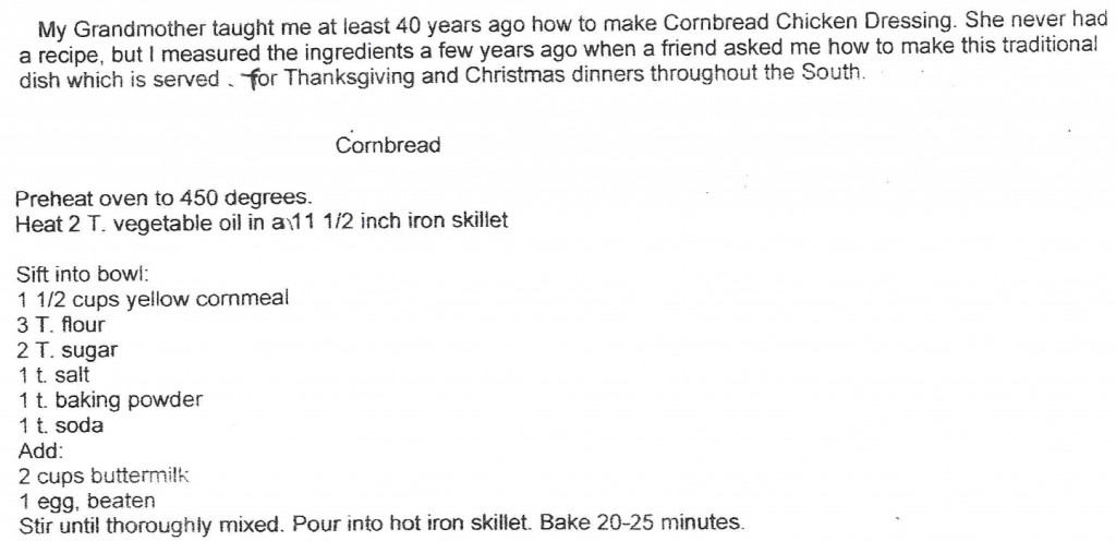 "Recipe for cornbread by Sherian Davis Weiss's grandmother for blog post by Charis Freiman-Mendel, the S.A.T. gourmet and author of ""Cook Your Way Through The S.A.T."", on Thanksgiving traditions old and new"