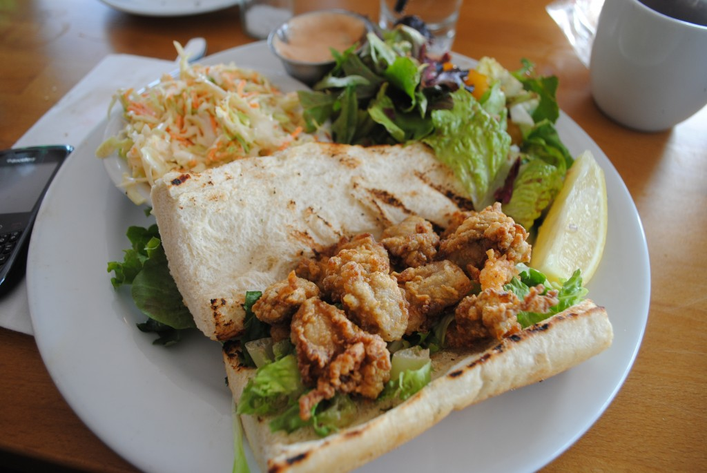 Photo of fried oyster po boy at Matunuck Oyster Bar, for a restaurant review by Charis Freiman-Mendel, author of Cook Your Way THrough The S.A.T.