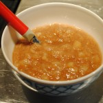 Photo of possibly pear sauce in serving bowl for blog post by charis freiman-mendel author of cook your way through the s.a.t.