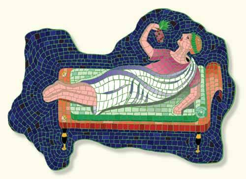 "Image of mosaic of reclining Roman eating grapes for post on ""food coma"" and ChristmaHanuKwanzaakah and Festivus on S.A.T. gourmet Charis Freiman-Mendel"