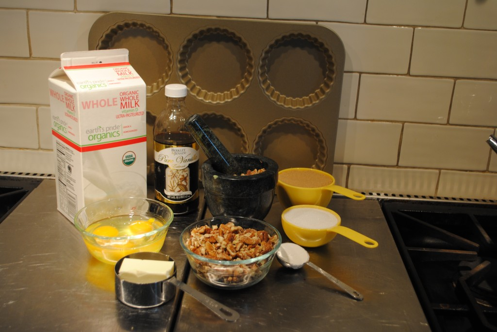 Photo of ingredients for southern double pecan pie by charis freiman-mendel, author of cook your way through the s.a.t.