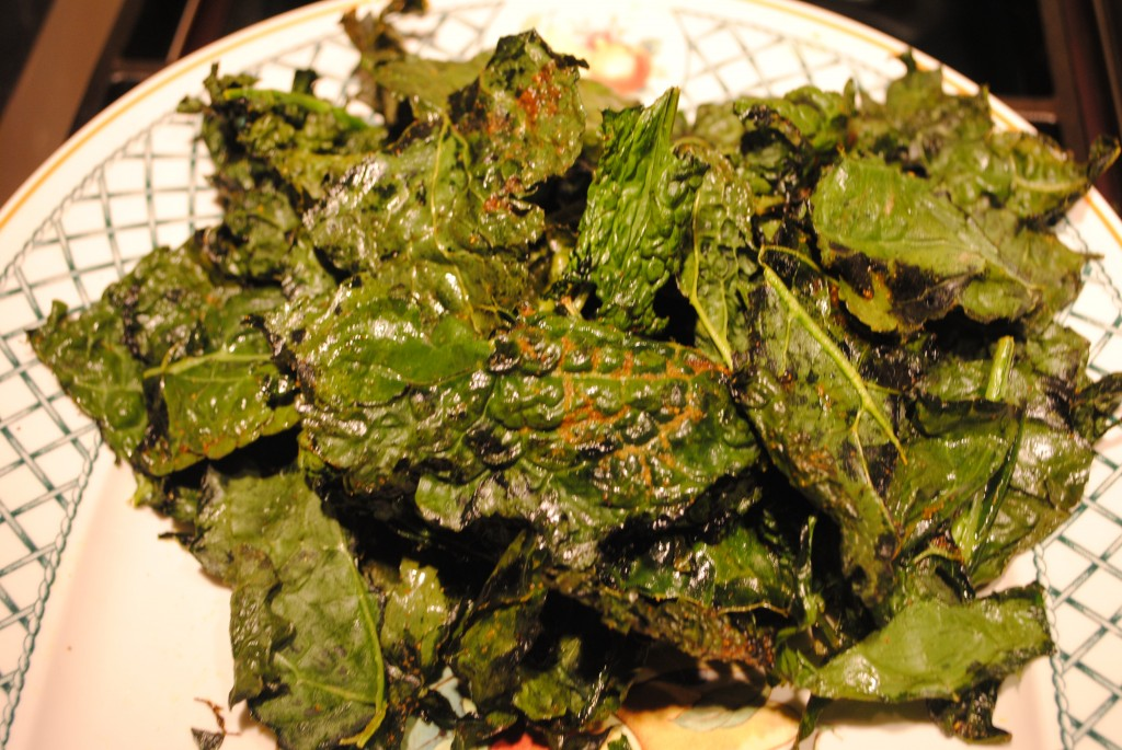 Photo of baked kale chips, ready to serve, for blog post on superbowl superfood kale chips by charis freiman-mendel, author of cook your way through the s.a.t.