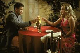 Photo of elle woods and warner at dinner from legally blonde movie for blog post by charis freiman-mendel, author of cook your way through the s.a.t. on lentil soup, group cooking and the movie legally blonde