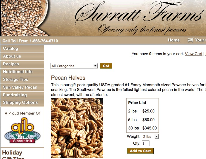 Photo of surratt farms pecans for blog on martin luther king day and southern double pecan pie by charis freiman-mendel, author of cook your way through the s.a.t.