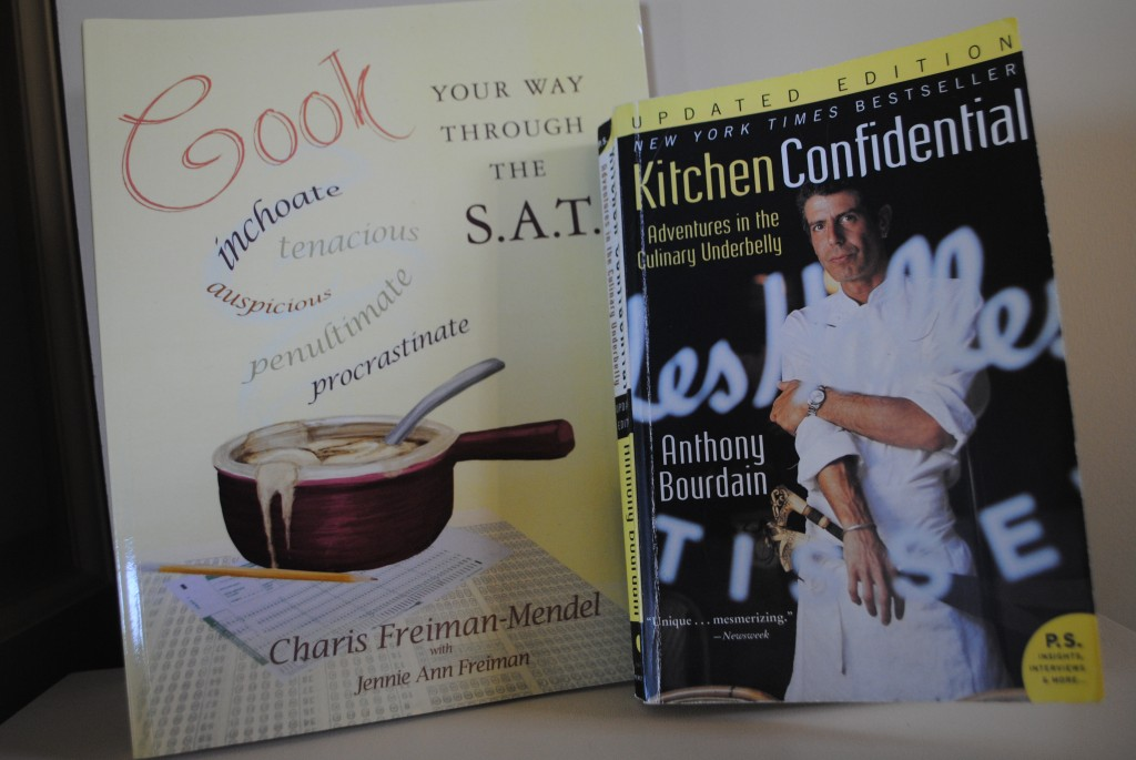 photo of two books, cook your way through the s.a.t. by charis freiman-mendel and kitchen confidential by anthony bourdain for book review of kitchen confidential by charis freiman-mendel
