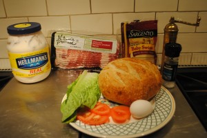 "Photo of all ingredients for blog on www.SATgourmet.com, Recipe of ""Spanglish Sandwich,"" a blog by author of ""Cook Your Way Through The S.A.T.,"" Charis Freiman-Mendel."