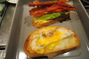 "Photo of assembled sandwich for blog on Recipe of ""Spanglish"" sandwich, for www.SATgourmet.com, a website by author of Cook Your Way Through The S.A.T., Charis Freiman-Mendel."