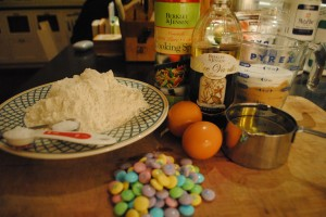 "Photo of all ingredients for easter cookies for blog on ""Easter Cookies,"" on www.SATgourmet.com, a blog by author of Cook Your Way Through The S.A.T., Charis Freiman-Mendel."
