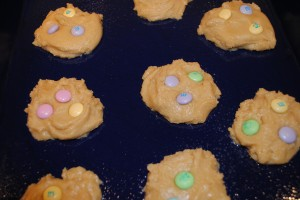 "Photo of cookies on baking sheet for easter cookies for blog on ""Easter Cookies,"" on www.SATgourmet.com, a blog by author of Cook Your Way Through The S.A.T., by Charis Freiman-Mendel."