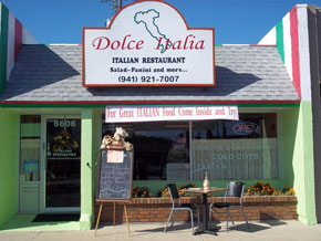 Photo of restaurant Dolce Italia in Sarasota, Florida for blog post by Charis Freiman-Mendel, author of Cook Your Way Through The S.A.T.