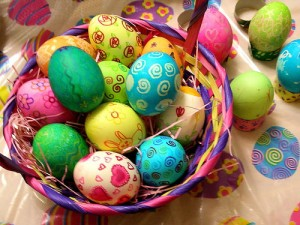 Photo of colorful easter eggs for blog on Easter Cookies recipe on www.SATgourmet.com, a blog by Charis Freiman-Mendel, author of Cook Your Way Through The S.A.T.