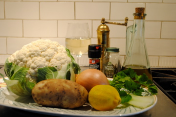 Photo of ingredients for cauliflower soup from Zuppe cookbook for book review blog post by Charis Freiman-Mendel, author of Cook Your Way Through The S.A.T.