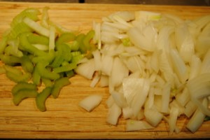 Photo of chopped celery and onion for cauliflower soup recipe from Zuppe cookbook for book review blog post by Charis Freiman-Mendel, author of Cook Your Way Through The S.A.T.