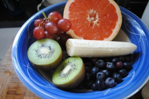 Photo of fruit bowl for blog on www.SATgourmet.com of world's healthiest fruit bowl, written by Charis Freiman-Mendel, author of Cook Your Way Through The S.A.T.