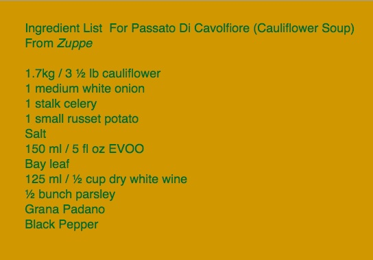 Ingredient list for cauliflower soup from Zuppe cookbook for cookbook review by Charis Freiman-Mendel, author of Cook Your Way Through The S.A.T.
