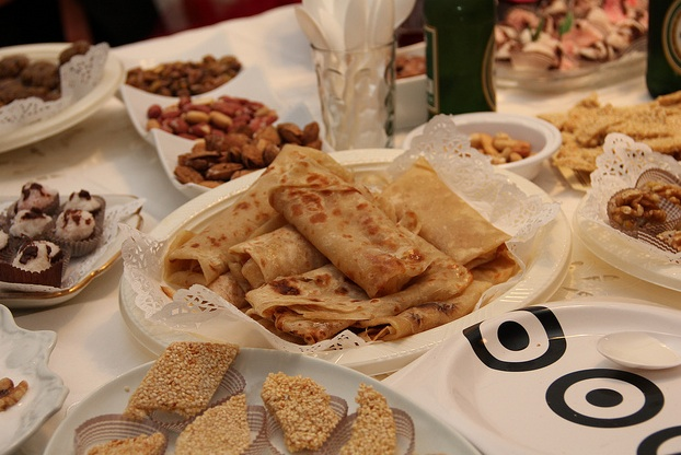 "Photo of mufletta crepes at Mimouna celebration for post by charis freiman-mendel, author of ""cook your way through the s.a.t."""