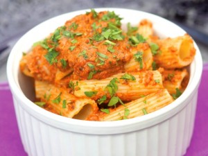 "Photograph of eggplant romesco rigatoni by paulette phlipot for cookbook ""ripe"" review by charis freiman-mendel, author of ""cook your way through the s.a.t."""