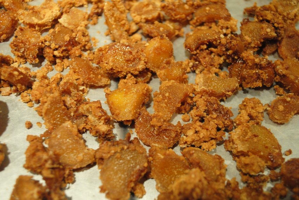 Photo of ginger candy on wax paper for Mother's Day blog on homemade ginger candy recipe by Charis Freiman-Mendel, author of Cook Your Way Through The S.A.T.