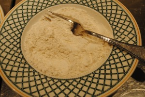 Photo of flour mixture for recipe of sole meuniere on www. SATgourmet.com, a blog by author of Cook Your Way Through The S.A.T., Charis Freiman-Mendel.