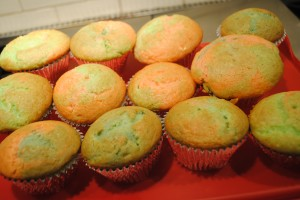 Photo of baked cupcakes for recipe on tie-dye cupcakes on www.S.A.T.gourmet.com, a blog by Charis Freiman-Mendel, author of Cook Your Way Through The S.A.T.