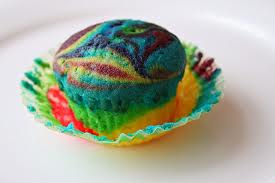 Photo of tie-dye cupcake for recipe on tie-dye cupcakes on www.S.A.T.gourmet.com, a blog by Charis Freiman-Mendel, author of Cook Your Way Through The S.A.T.