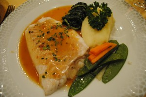 "Photo of cod dinner at Au Bouillon Normand, Honfleur, France, for blog ""Pictures From France"" by Charis Freiman-Mendel, author of cookbook, ""Cook Your Way Through The S.A.T."""