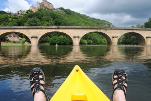 "Photo of kayaking in the Dordogne River Valley for blogpost, ""Pictures from France: Part Trois,"" on website www.SATgourmet.com, by author of Cook Your Way Through The S.A.T., Charis Freiman-Mendel."