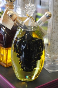 "Photo of oil and vinegar decanter for blogpost, ""Pictures From France: Part Deux, on www.SATgourmet.com, by author of ""Cook Your Way Through The S.A.T,"" Charis Freiman-Mendel."