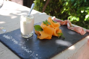 "Photo of prosciutto and melon for blogpost, ""Pictures from France: Part Trois,"" on website www.SATgourmet.com, by author of Cook Your Way Through The S.A.T., Charis Freiman-Mendel."