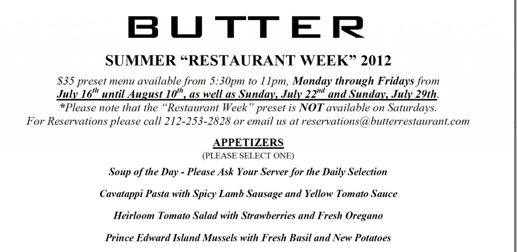 "Butter Restaurant week 2012 appetizer menu for blog by Charis Freiman-Mendel, author of ""Cook Your Way Through The S.A.T."""
