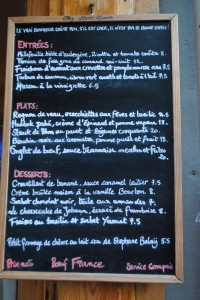 "Photo of chez marie louise menu for blog post, ""Restaurant Review: Chez Marie Louise,"" on www.SATgourmet.com, by author of Cook Your Way Through The S.A.T., Charis Freiman-Mendel."