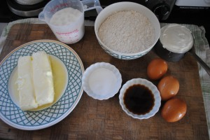 "Photo of ingredients for Fourth of July cake for blog post, ""Fourth of July Cake"" on website, www.SATgourmet.com, by author of Cook Your Way Through The S.A.T., Charis Freiman-Mendel."