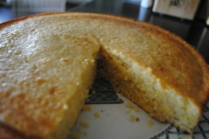 "Photo of Cornbread for blog post, ""Recipe: Sweet Cornbread,"" on www.SATgourmet.com, by author of Cook Your Way Through The S.A.T., Charis Freiman-Mendel."