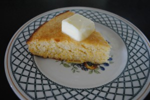 "Photo of sweet cornbread wedge for blog post, ""Recipe: Sweet Cornbread,"" on www.SATgourmet.com, by author of Cook Your Way Through The S.A.T., Charis Freiman-Mendel."