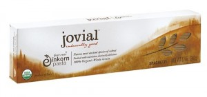 "Photo of Jovial pasta for blog post, ""Review: Jovial Food Products,"" on www.SATgourmet.com, by author of Cook Your Way Through The S.A.T., Charis Freiman-Mendel."