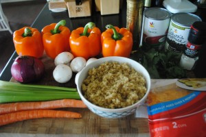"Photo of quinoa stuffed peppers ingredients for blog post, ""Quinoa Stuffed Peppers,"" on www.SATgourmet.com, by author of Cook Your Way Through The S.A.T., Charis Freiman-Mendel."