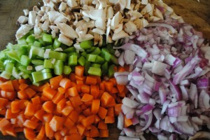 "Photo of diced vegetables for blog post, ""Quinoa Stuffed Peppers,"" on www.SATgourmet.com, by author of Cook Your Way Through The S.A.T., Charis Freiman-Mendel."