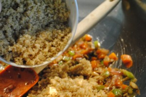 "Photo of quinoa for blog post, ""Quinoa Stuffed Peppers,"" on www.SATgourmet.com, by author of Cook Your Way Through The S.A.T., Charis Freiman-Mendel."