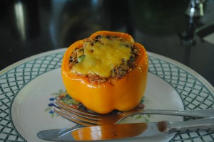 "Photo of quinoa stuffed pepper for blog post, ""Quinoa Stuffed Peppers,"" on www.SATgourmet.com, by author of Cook Your Way Through The S.A.T., Charis Freiman-Mendel."