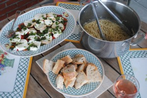 "Photo of Italian Feast for blog post, ""Recipe: Cacio E Pepe,"" on www.SATgourmet.com, by author of Cook Your Way Through The S.A.T., Charis Freiman-Mendel."