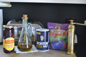 "Photo of Fig and Olive tapenade ingredients for blogpost, ""Dips and Spreads: fig and olive,"" on www.SATgourmet.com, by author of Cook Your Way Through The S.A.T., Charis Freiman-Mendel."