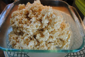 "Photo of marshmallow cereal bars mixture for blog post, ""Goodbye Summer, Hello School: Marshmallow Cereal Bars,"" on www.SATgourmet.com, by author of Cook Your Way Through The S.A.T., Charis Freiman-Mendel."