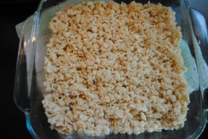 "Photo of marshmallow cereal bars for blog post, ""Goodbye Summer, Hello School: Marshmallow Cereal Bars,"" on www.SATgourmet.com, by author of Cook Your Way Through The S.A.T., Charis Freiman-Mendel."