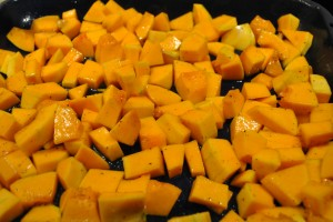 "Photo of roasted butternut squash for blog post, ""Butternut Squash and Arugula Salad,"" on www.SATgourmet.com, by author of Cook Your Way Through The S.A.T., Charis Freiman-Mendel."