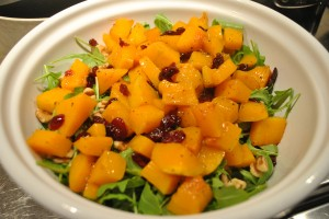 "Photo of butternut squash and arugula salad for blog post, ""Butternut Squash and Arugula Salad,"" on www.SATgourmet.com, by author of Cook Your Way Through The S.A.T., Charis Freiman-Mendel."